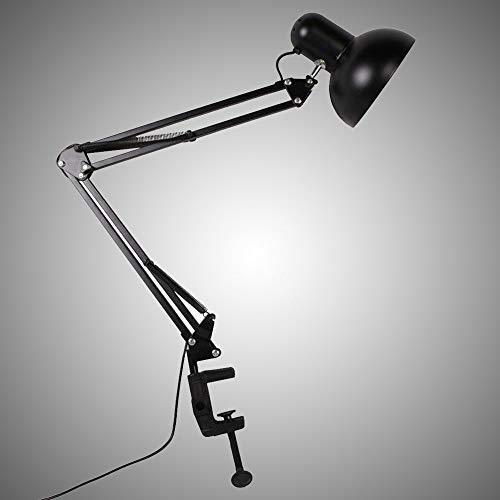 Lampe de bureau halogène à haut débit, hauteur de 25 pouces, noir mat avec prise américaine
