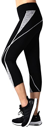 Neonysweets Womens Capri Workout Pants Yoga Pants Active Leggings Black Gray M