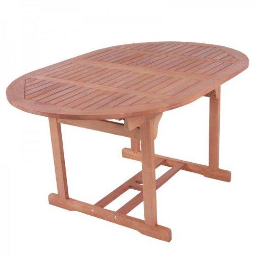 Massiver Gartentisch, Ausziehtisch 150-200cm oval, aus hochwertigem Bankirai Hartholz, geölt
