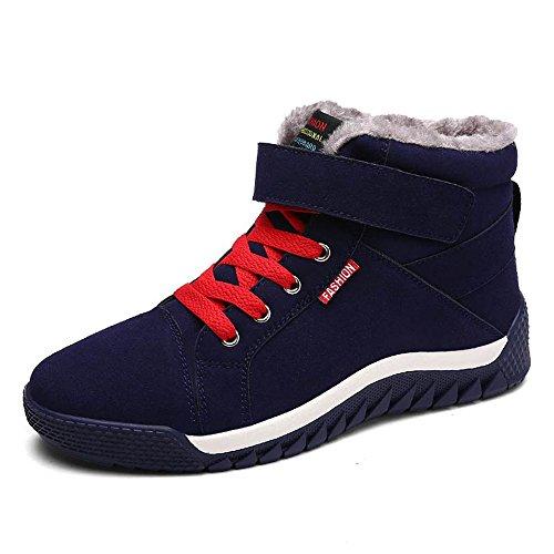 JACKSHIBO Herren Winterschuhe Warm Gefütterte Schneestiefel Winterstiefel Outdoor Sneakers,Dunkelblau,EU 39