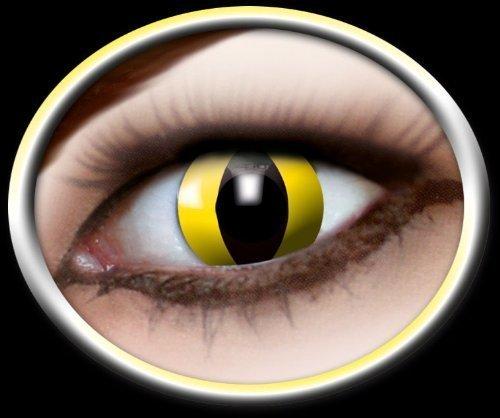 Eyecatcher Color Fun - Farbige Kontaktlinsen - Yellow Cat -Gelbe Katze - 1 Paar - Ideal für Karneval, Fasching, Halloween & Party