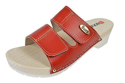 Buxa Cuir Sabots / Sandales Femme avec Double Velcro Bracelet et Sole en Caoutchouc Rouge