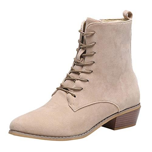 Damen Ankle Stiefel Damenmode Reißverschluss Stiefeletten Western Casual Large Size Scrub Single Boots Täglich Wild Basic Ausgehen Dating Pendeln Schuhe(Beige,42)