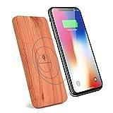 Jamicy 2-in-1 Portable Wood Wireless Ladegerät, 10000mAh Qi Ladepad mit Slim Wood Ladegerät Dock Matte für iPhone X / 8/8 Plus, Samsung Note9 / S9 / S8 Plus / S7Edge, Alle Qi-kompatiblen Geräte