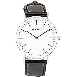 RE:CRON Unisex Armbanduhr Edelstahl 40 mm mit Lederarmband oder Textilarmband aus Nylon