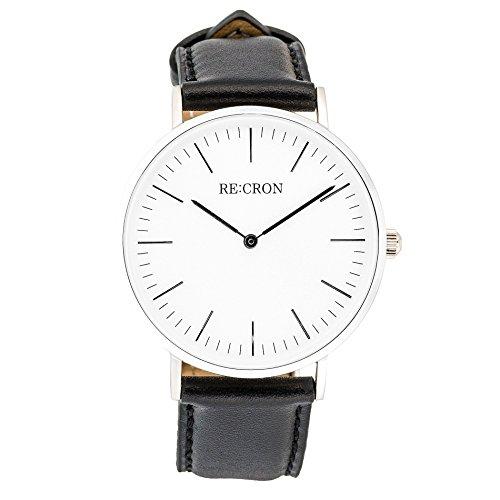 RECRON-Unisex-Armbanduhr-Edelstahl-40-mm-mit-Lederarmband-oder-Textilarmband-aus-Nylon