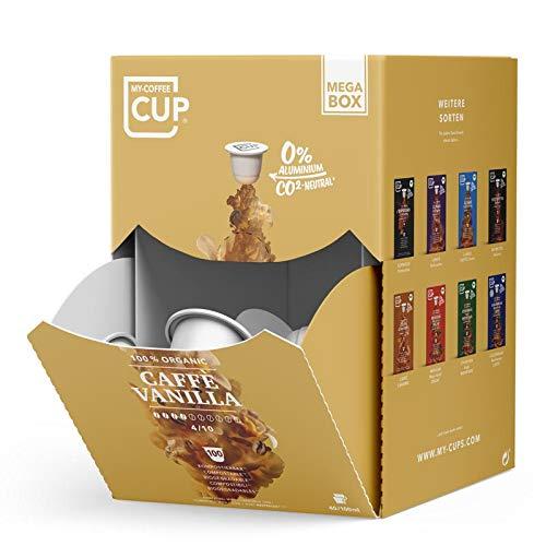 MEGA BOX - 100 BIO-Kaffeekapseln von My-CoffeeCup | Kompatibel mit Nespresso®*-Maschinen | 100 % kompostierbare Kapseln, CO₂-neutral und ohne Alu (Caffè Vanilla, 100 Kapseln)