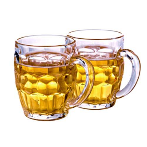 KUQIQI Bierkrüge, Bierkrüge, Bierglaswaren, Bierkrug, Bierkrug, Glaswasserbecher, 565 ml, Ananas-Bierkrug mit großem Fassungsvermögen, Anzug (2 Packungen) (Color : Transparent, Size : 565ml) Pilsner Becher-set