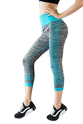 DD UP Damen 3/4 Sport Leggings Blickdicht Yoga Pants Capris Running Workout Trainingshose