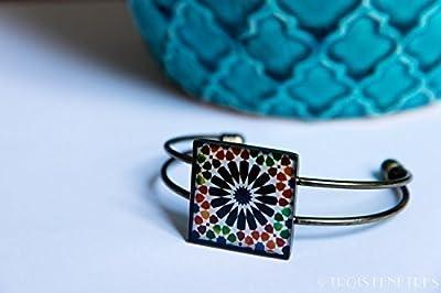Bracelet Alhambra - Photographies en résine écologique - Fleur noire - Bijoux vintage - Idee cadeau Fêtes des mères