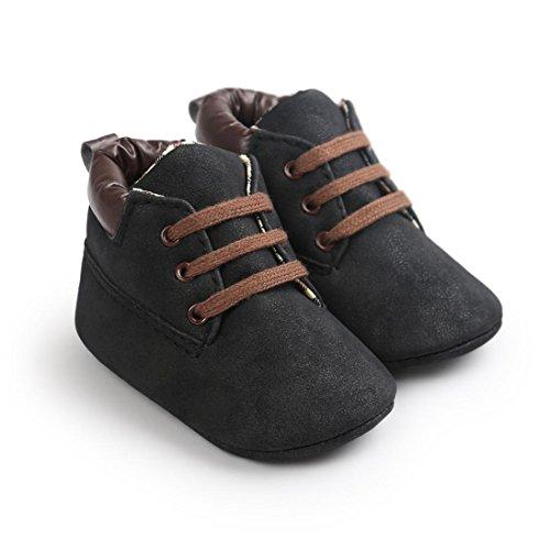Babyschuhe Longra Kleinkind weiche Sohle Schuhe Baby Junge Mädchen Schuhe Prewalker Lauflernschuhe Krippeschuhe (0 ~ 18 Monate) Black