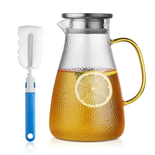 COM-FOUR/® Barattolo da 7 pezzi con decanter in vetro dal design elegante e moderno 7 parti - colorate lavabile in lavastoviglie