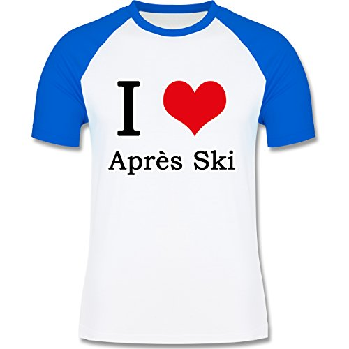 Après Ski - I love Après Ski weiße Kontur - zweifarbiges Baseballshirt für Männer Weiß/Royalblau