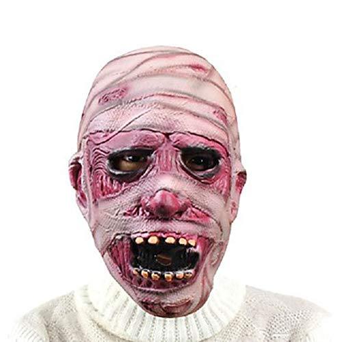 n Maske LED Light Horror Maske Latex Halloween Scary Mummy Maske Haloween Gesicht Zahltag Masken Terror Teufel Cosplay Umweltfreundliche Latex Masque, A ()