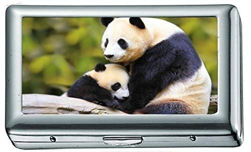 Natur Tier Vogel National Geographic Panda Zigarettenetui / -schachtel Visitenkartenetui Edelstahlgehäuse Silber Metall Brieftasche Schutz -