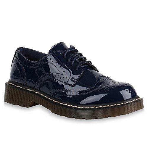 Damen Brogues Halbschuhe Elegante Lack Schuhe Profilsohle 145430 Dunkelblau Lack 38 | Flandell®