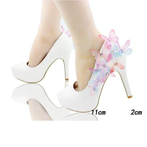 QPYC Donna ha puntato gli alti talloni scarpe da farfalla Foto Bianco Sfilate di Nozze Sexy Sequins d'argento Scarpe da donna Large Size 11cm