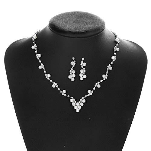 Luxuon Schmuck2 Stück Strass Brautschmuck Sets, Blume Halskette Ohrringe Hochzeit Zubehör Perlenkette Ohrringe Set