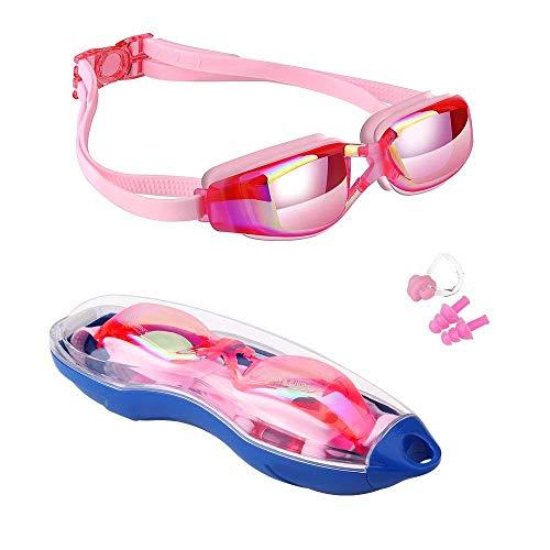 Kinder Schwimmen Brillen, hurdilen Schwimmen Brillen für Kinder Schwimmbrille mit Anti-Fog UV-Schutz kein Auslaufen beschichteter Linse mit Fall, Nase Clip, 2Für Jungen Mädchen Youth Kinder, rose