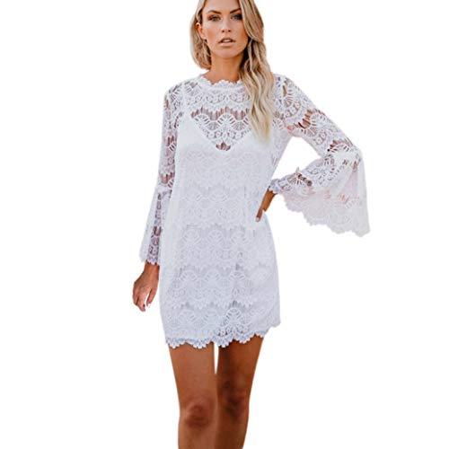 Damen Kleid, Malloom Mode Frauen Aufflackernhülse Dreiviertel O-Ausschnitt Blumen Spitzenkleid...