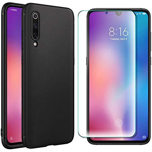 AOBOK [2 Stück, Hülle für Xiaomi Mi 9 SE, Panzerglas für Xiaomi Mi 9 SE, Schwarz Weiche Silikon [ Ultradünnen ] Flexibel Bumper Handyhülle TPU Kratzfest Handy Schutzhülle