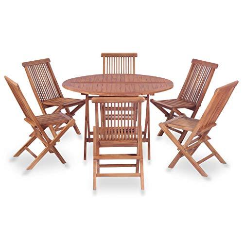 Festnight Klappbar Essgruppe 7-TLG. | Holz Sitzgruppe | Gartengarnitur Sitzgarnitur | Gartenset Essgruppe | Terrassenmöbel Gartenmöbel | Gartenmöbelset | Braun Massiv Teakholz