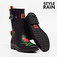 ZQDZYA Wellington Boots,Hao Rubber Ladies Waterproof Section In The Outer Wear Korean Cute Summer Matte Rain Boots Fashion Shoes In The Tube Rubber Black Rose Fashion Pvc Women Wellington Boots