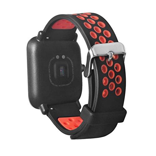 Fossen Silicona Banda de Reemplazo Reloj Correa para Amazfit Sport Smartband (Rojo)