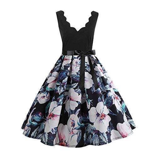Damen elegant 50er Jahre Petticoat Kleider Drucken Abendkleider Rockabilly Kleider Cocktailkleider Ärmellos Kleidung Abendkleider Partykleid...