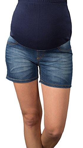 Kurze Jeans Umstandsshorts / Umstandshose mit Bauchband für Sommer 9037 (46, dark wash) (Jegging Kurz)