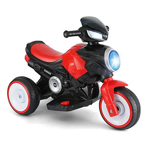 CHTOYS Kinder Fahrt Auf Spielzeugauto Kinder Motorrad Motorrad Elektroroller Motor Fahrrad 6 V Batteriebetriebenes Spielzeug Trike,Red (Batteriebetriebene Fahrräder Kinder)
