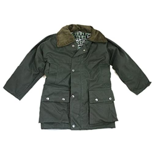 Childrens-Waxed-Cotton-Padded-Quilted-Jacket-Coat-With-Hood-Boys-Girls-Kids-Youths-Outdoor-School-Trips-Camping-Countryside-Oiled-Fishing-Hunting-Shooting-Farming-Riding-Check-Lining-Green-Size-24