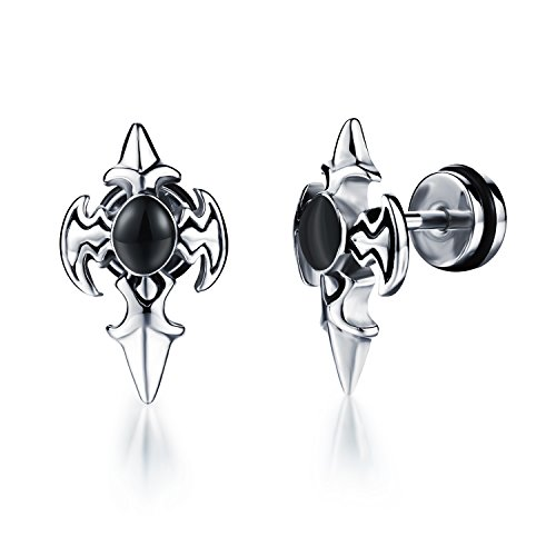 ostan-1-pair-earrings-studs-stainless-steel-vintage-punk-style-plug-tunnel-mens-earrings