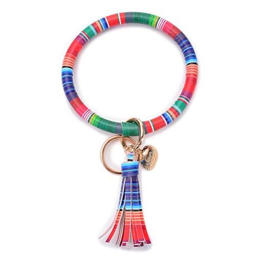 Jyuesi Nice Pu Leather Tassels Wristlet Keychain Bracelet Bangle Keyring Key Chain Holder Big Key Ring Bracelet O Ring Key Chain for Women Girls
