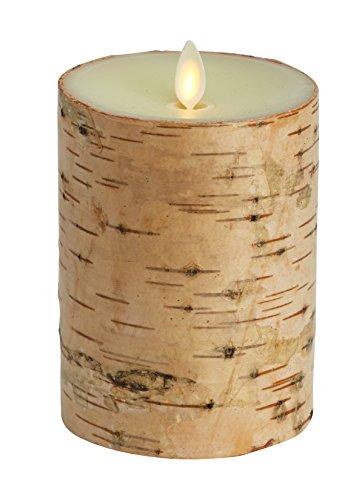 Luminara candela virtuale Rivestimento vero legno di betulla Candela di qualità 15 con fiaa LED autentica e realistica sicura per bambini e animali