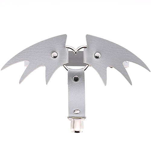 Hykis - Sexy Women Sock Gothic Harajuku Elastic Bondage Garter Belt Punk Gothic Leather Angel Wings Halloween Leg Ring [ Silver ] (Ring Silver Tiffany)