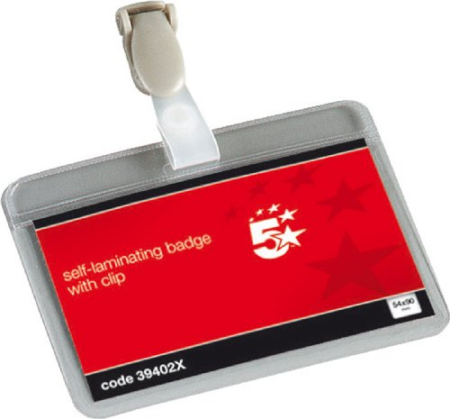 5-star-name-badges-self-laminating-landscape-with-plastic-clip-54x90mm-pack-of-25