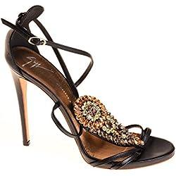 Zanotti Damen Pumps Leder Schwarz Gold, Schuhgröße:40