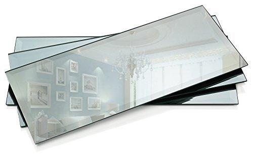 cm Rechteck Spiegel Kerze mit Teller 3mm abgeschrägte Kante Set von 3 ()