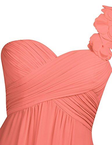 YiZYiF Damen Kleid Sommerkleid Elegant Blumen One Shoulder Hochzeit Brautjungfer Cocktailkleid Chiffon Faltenrock Lange Abendkleid Abschlussballkleder Gr. 34-46 Koralle