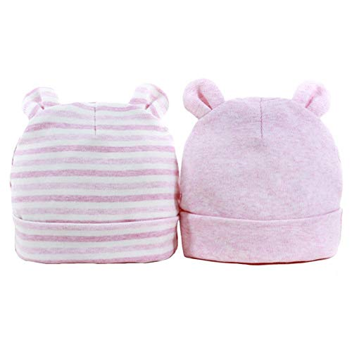 2 Stück Baby Mütze Neugeborenen 0-6 Monate Baumwolle Baby Mütze Herbst und Winter...