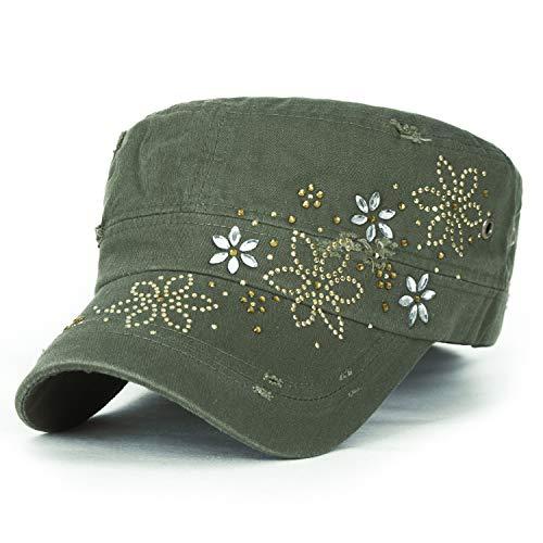 ililily Kristall Gemstone Stollen Blumenmuster klassischer Stil Baumwolle Militär Armee Hut Kadett Cap (Large, Moss Green)