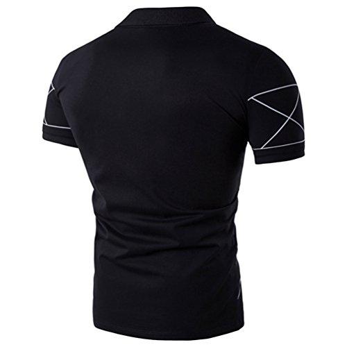 ZhiYuanAN Camicia Estate Polo Uomo Le Linee Sottili Stampate T-Shirt Taglia Larga Casual Risvolto Maglietta Polo Maniche Corte Tee Tops Nero