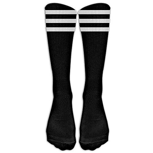 False warm warm Crew Socks White Stripe Mens Womens Knee High Tube Dresses Liner Cosplay Socks