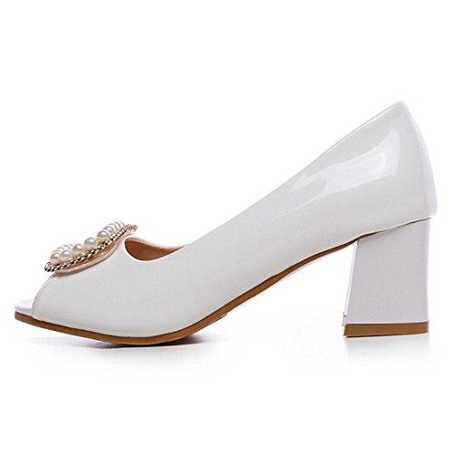 COOLCEPT Damen Mode Slip On Pumps Peep Toe Blockabsatz Schuhe Gr White