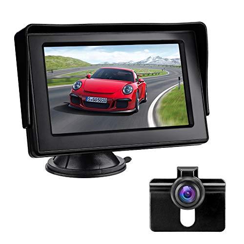 Rückfahrkamera mit Monitor, Auto Rückfahrkamera IP68 Wasserdicht Nachtsicht Einparkhilfe System 4.3'' LCD Rückansicht Bildschirm