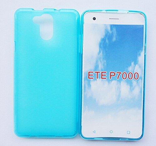 Prevoa ® 丨Transparent Silikon TPU Hülle Case Schutzhülle Tasche für Elephone P7000 4G Android Unlocked Smartphone - (Blau)