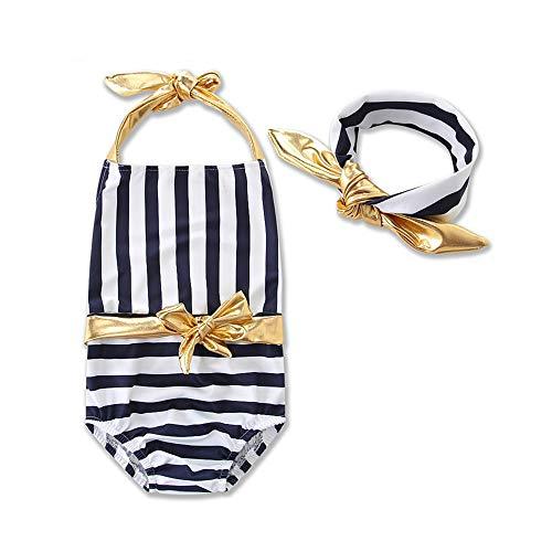Mebeauty Kinder Mädchen Badeanzug Mädchen Kinder Streifen Einteiliger Badeanzug Lace-up Princess Bikini Badeanzug Beachwear mit Haarband Netter bunter Schwimmen-Kostüm-Badeanzug (Größe : 2T) (2t Princess Kostüm)