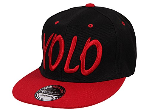 Cappy Baseballcap YOLO Hip Hop Schirmmütze Mütze Käppi Schwarz Rot Streetware