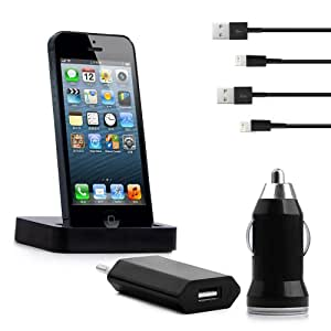 5in1 Apple iPhone 5C 5S & 5 Ladekabel Set 2x Kabel 1x Powerstation 1x KFZ & 1x Charger schwarz